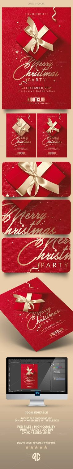 """""""Red Christmas   Psd Flyer Template"""" Creative Template perfect to promote your Christmas Event / Party !"""