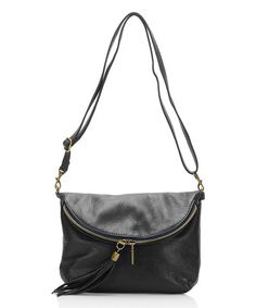 Another great find on #zulily! Black Zip Pebbled Leather Crossbody Bag #zulilyfinds