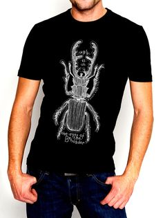 Ugly Is In The Eye Of The Beholder Stag Beetle Insect Men's Ethically Produced Cotton T-Shirt Line Drawing *Black White Grey Or Red* by WinkinBitsyStudio on Etsy https://www.etsy.com/listing/184707292/ugly-is-in-the-eye-of-the-beholder-stag