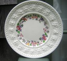 Plate Of Wedgwood England    Wellesley Orient    A Wide Floral Embossed Rim    A Ring Of Multicolored Flowers Encircles This Plate Inside The Rim   $34.00