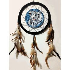 White Tiger 3D Lenticular Dream Catcher Western Decor Feather Wall Hanging Decor