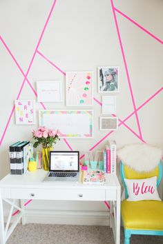 Gallery Prints- Ashley Cooper Designs Frames- Framebridge Pink Geometric Design- Target Paper Tape (it peels right off!) Custom Desk Chair- Throne Upholstery Desk- Target Clear Binder Holder- Target B