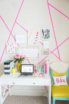 Gallery Prints- Ashley Cooper Designs Frames- Framebridge Pink Geometric Design- Target Paper Tape (it peels right off!) Custom Desk Chair- Throne Upholstery Desk- Target Clear Binder Holder- Target B