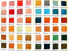 Vegetable Dye Color Chart Endpaper of Vegetable Dyeing: 151 Color Recipes for Dyeing Yarns and Fabrics with Natural Materials by Alma Lesch. New York: Watson-Guptill Publications Fabric Yarn, How To Dye Fabric, Dyeing Fabric, Dyeing Yarn, Fabric Dyeing Techniques, Textile Dyeing, Shibori, Textiles, Natural Dye Fabric