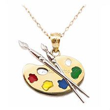14k Gold Artist Palette Necklace