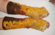 Armstulpen gefilzt in Brauntönen Gr.7-7,5 von Filzaccessoires und andere Geschenke auf DaWanda.com