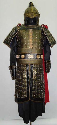 Replica Three Kingdoms General's armor costume and helmet.