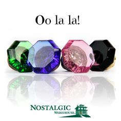 Freshen up the look of any door with colorful crystal door knobs by Nostalgic Warehouse.