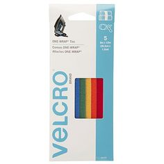 "VELCRO Brand - ONE-WRAP Cable Management, Self Gripping Cable Ties, Reusable, 8"" x 1/2"" Ties, 5 Ct. - Multi-color"