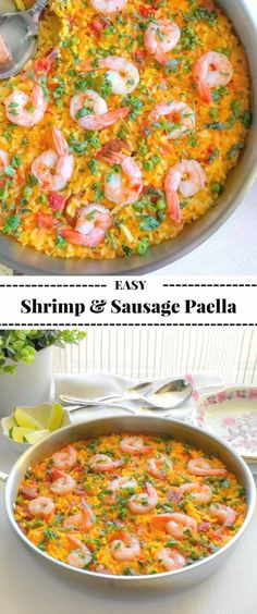 Easy Shrimp and Sausage Paella Recipe: #paella #shrimp #spanish #SeafoodAlFrescoWithLagostina @lagostinausa