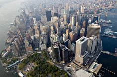 NYC. Fantastic aerial view of Lower Manhattan, the Financial District and Battery Park City
