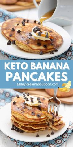 Keto banana pancakes are a dream come true. These delicious grain-free pancakes are fluffy and light, with a rich banana flavor. Add some sugar-free chocolate chips for a delicious breakfast treat! Atkins Breakfast, Quick Keto Breakfast, Delicious Breakfast Recipes, Breakfast Items, Low Carb Desserts, Low Carb Recipes, Gluten Free Pancakes, Keto Pancakes, Waffles