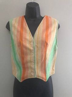 Vintage Rainbow Striped Vest / Spring Bright Colored Layering Vest / Womens Orange, Yellow and Green Striped Medium Vest by VintageBaublesnBits on Etsy
