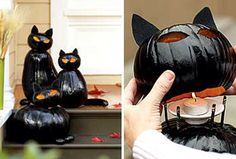 Cat pumpkins with glowing eyes.