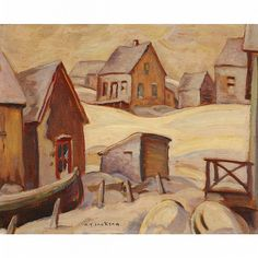 Jackson - Houses, Fox River, Gaspe Oil on panel x Canadian Painters, Canadian Artists, Group Of Seven Paintings, Tom Thomson, Art Toronto, Snow Art, Snow Scenes, Painted Signs, Landscape Art