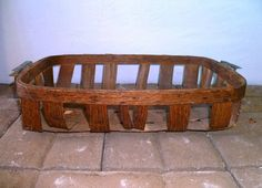 Antique Farm Harvest Oak Produce Grape Basket Zinc Handles