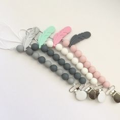 Cute pacifier clips for any baby boy or girl, great gift the best part it's teething toy and pacifier clip in same time. Teething Beads, Teething Necklace, Teething Toys, Pacifier Holder, Pacifier Clips, Baby Teethers, Baby Boy Or Girl, Girls Accessories, Unique Jewelry