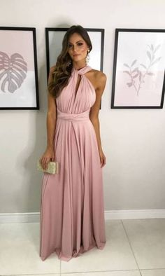 Wrap Over Dress, Infinity Dress, Color Rosa, Bridesmaid Dresses, Wedding Dresses, Pink Dress, Dress Skirt, Fashion Beauty, Ideias Fashion