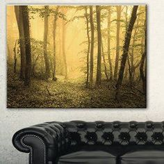 Yellow is a sporty fun and playful color which is why I love  yellow home wall art décor. Yellow wall  art is the epitome of lively and bold.  Yellow is a happy color and therefore great for decorative accents. Yellow decorative accents look amazing in any  room. #yellow #yellowdecor      Designart Trail Through Yellow Foggy Forest Landscape Photo Canvas Print, 32