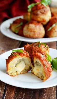 Mozzarella Stuffed Chicken Parm Meatballs Recipe
