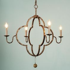 Double Quatrefoil Chandelier. Distressed gold.  Works with 8'ft ceiling.  4 lights.  Vintage gold.
