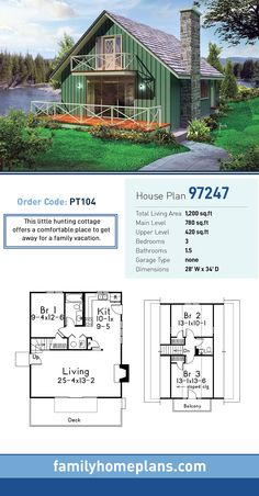 Cottage House Plan 97247 | Total Living Area: 1,200 SQ FT, 3 bedrooms and 1.5 bathrooms. This little hunting cottage offers a comfortable place to get away for a family vacation. #cottagehome Build a simple cottage home with building plans from family home plans.