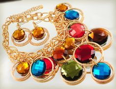 'Gold Tone/Multi Color Necklace & Earring Set ' is going up for auction at  9am Thu, Aug 9 with a starting bid of $10.