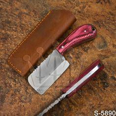 5890 |New FULLTANG Handmade High Carbon Steel Skinner/Cleaver Knife | W/Sheath #Damascus Cleaver Knife, High Carbon Steel, Damascus, Knives, Handmade, Damask, Hand Made, Knife Making, Knifes