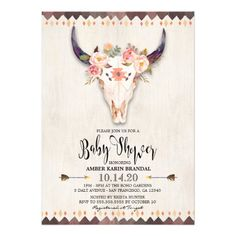 Boho Tribal Watercolor Baby Shower Invitation Featuring A Floral Antler Bullhead Design With Pink Flowers