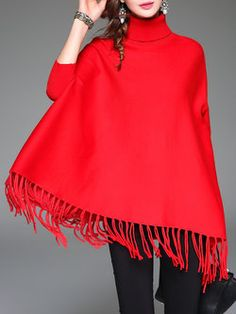 Red Turtleneck Batwing Fringed Sweater
