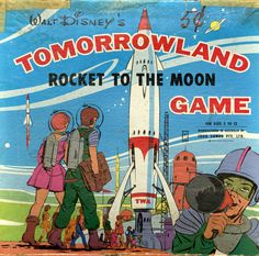 Vintage Disneyland board game featuring the classic Tomorrowland ride, Rocket to the Moon. Disney Magic, Disney Mickey, Walt Disney, Disneyland Tomorrowland, Attractions Disneyland, Toy Rocket, Space Books, Disney Games, Vintage Board Games