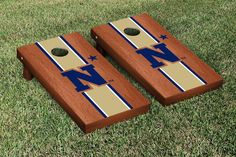 Naval Academy Midshipmen Cornhole Game Set Rosewood Stained Stripe Version 2