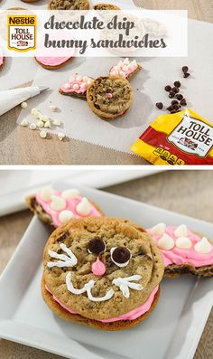 Chocolate Chip Bunny Sandwiches  It's easy to turn Nestle Toll House Cookies into adorable bunny-shaped cookie sandwiches! Decorate with icing, Nestle Toll House Semi-Sweet Chocolate and Premier White Morsels for a fun playtime project with little ones.