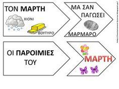 ΠΑΡΟΙΜΙΕΣ ΓΙΑ ΤΟΝ ΜΑΡΤΗ  σε μορφή ενσφηνωμάτων Spring Crafts, Seasons, Map, School, Places, Seasons Of The Year, Location Map, Maps, Lugares