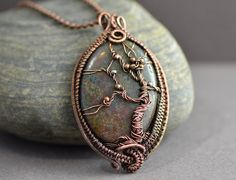 Tree of life wire wrapped pendant Celtic copper by OrioleStudio