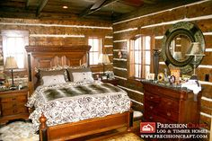 Master Bedroom with Handcrafted Timber Frame Walls by PrecisionCraft Log Homes & Timber Frame, via Flickr