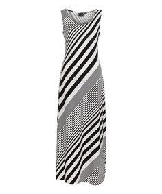 Look at this #zulilyfind! Black & White Diagonal Stripe Maxi Dress #zulilyfinds