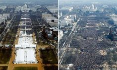 After huge anti-Trump protests fill major US and world cities, president and key advisers push falsehoods about inauguration attendance