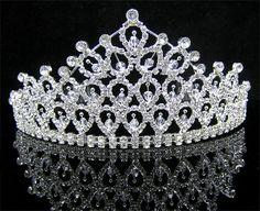 Wedding Bridal Crystal Veil Tiara Crown Headband CR182   eBay