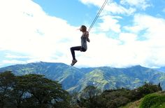 """Located at La Casa Del Arbol or """"The Treehouse"""" in Baños, Ecuador, this small house was built for the stunning view on the Tungurahua Volcano it offers. But the real attraction is the swing attached to one of the tree's branches.    It is far from your average swing, and it is surnamed"""