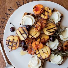 Grilled-fruit bruschetta with honey mascarpone. This knife-and-fork dessert from Bottega pastry chef Michael Glissman is a fantastic showcase for seasonal fruit at its peak; caramelizing the fruit on the grill intensifies its flavor. The grilled bread served alongside soaks up the sweet juices.
