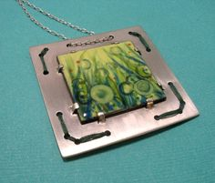 Spring is in the air enameled copper pendant in by ArtByWinona