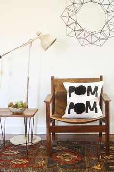 Pom Pom Pillow (Get it!?  With Pom Poms?!!)