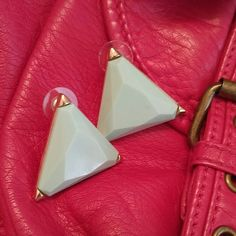 Retro Mint Triangle Post Earrings