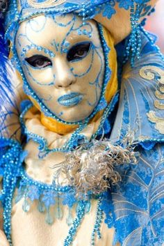 Participant in The Carnival of Venice, an annual festival that starts around two weeks before Ash Wednesday and ends on Mardi Gras on March 05 2011 in Venice, Italy. Stock Photo