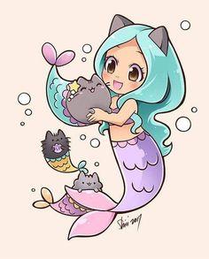 Mermaid Pusheen by nekoshiei. on - : Mermaid Pusheen by nekoshiei. Doodles Kawaii, Cute Kawaii Drawings, Kawaii Art, Kawaii Anime, Cute Mermaid, Mermaid Art, Mermaid Cartoon, Anime Mermaid, Mermaid Shell