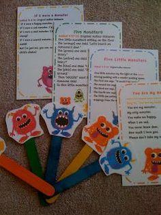 Preschool Printables: Freebie printable stick puppets & songs for monsters