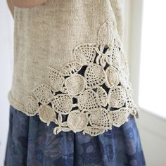 crochet leaf knit vest