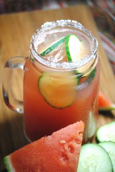 Cucumber/Watermelon Margarita! click link for recipe. delish!