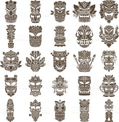 Brown Tiki head design set made with shapes Brown Tiki head design set made with shapes,Tiki Tiki Head Design Set royalty-free tiki head design set stock vector art & more images of african culture Totem Tattoo, Tiki Tattoo, Octopus Tattoo Design, Maori Tattoo Designs, Mascara Maori, Tiki Maske, Tiki Head, Polynesian Designs, Tiki Totem